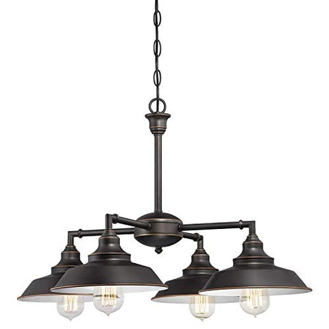 Cythia 6332500 Iron Hill Three-Light Indoor Island Pulley Pendant, Oil Rubbed Finish with Highlights and Metallic Bronze Interior, 3lightsdaddy.myshopify.com lightsdaddy