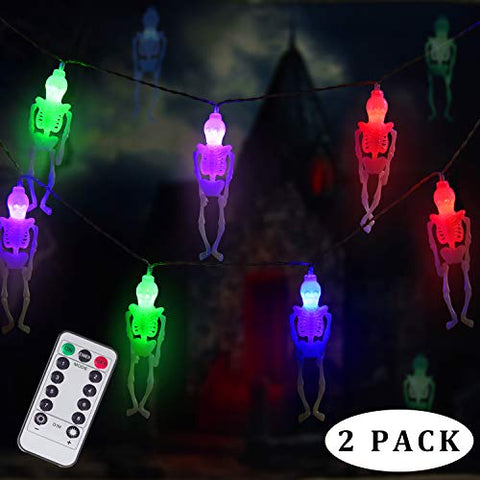 DAYLIGHTIR Ghost Skeleton Lights Halloween String Lights, 2PACK 15LED Remote-Control Baterry-Powered Perfect Halloween Decoration for Outdoor, Indoor, Garden, Yard, Tree, Party (2, Multicolor)