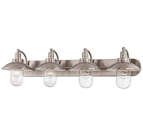 Minka Lavery Farmhouse Wall Light Fixtures 5134-84 Downtown Edison Glass Bath Vanity Lighting, 4 Light, Nickel - llightsdaddy - Elco Lighting - Low Voltage Transformers