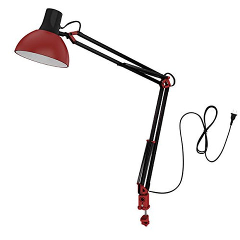 ToJane Red Desk Lamp,Architect Table Lamp,Metal Swing Arm Studio Light with C-clamp,on/Off Switch(Bulb Sold Separate)