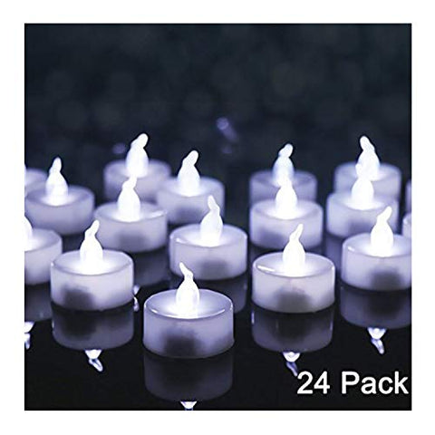 OMGAI 24 PCS LED Tea Lights Candles Battery-Powered Small Bright Flickering Flameless Candles for Home Decoration - Cool White - llightsdaddy - OMGAI - Flameless Candles