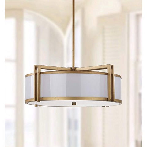 Safavieh Lighting Collection Orb Antique Gold 45.9-inch Drum Pendant Light