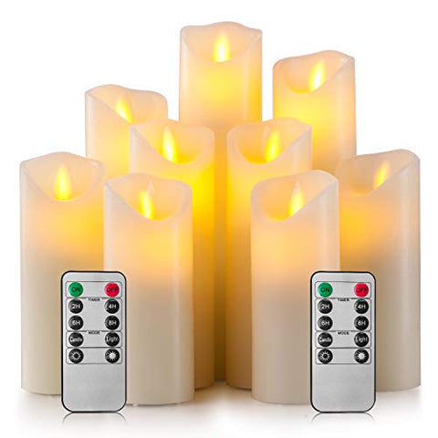 "Enpornk Flameless Candles Led Electric Ivory Real Wax Battery Operated Candle Sets with Moving LED Flame & 10-Key Remote Control 2/4/6/8 Hours Timer, 4"" 5"" 6"" 7"" 8"" 9"" Pack of 9 - llightsdaddy - ZhiWi - Flameless Candles"