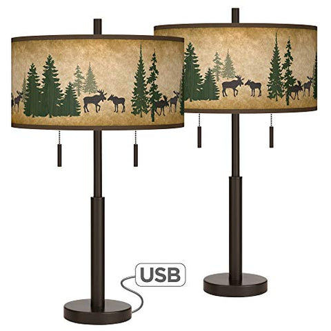Moose Lodge Robbie Bronze USB Table Lamps Set of 2 - Giclee Glow