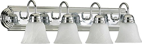 4 Light Vanity Light Bulb: 100 Watt, Finish: Chrome, Shade Color: White Faux Alabaster Glass