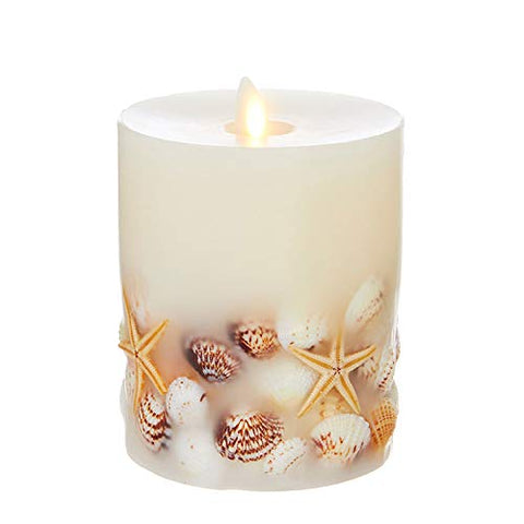 "Liown 4"" x 5"" Flameless Embedded Seashell LED Wax Battery Operated Pillar Candle SKU 39104 - llightsdaddy - Liown Flameless Candles - Flameless Candles"