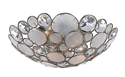 Crystorama 524-SA - Palla Crystal and Shell Flush Mount in Antique Silver
