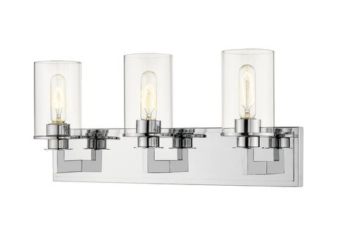 3 Light Vanity, Clear, Glass Shade, Chrome Frame - llightsdaddy - Z-Lite - Vanity Lights
