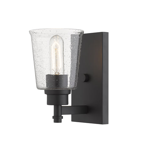 1 Light Wall Sconce, Clear Seedy, Glass Shade, Matte Black Frame  Z-Lite Wall Sconces and Lamps llightsdaddy.myshopify.com lightsdaddy