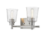 2 Light Vanity, Clear Seedy, Glass Shade, Brushed Nickel  Frame