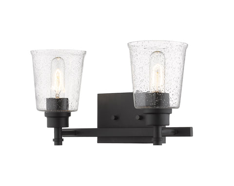 2 Light Vanity, Clear Seedy, Glass Shade, Matte Black Frame