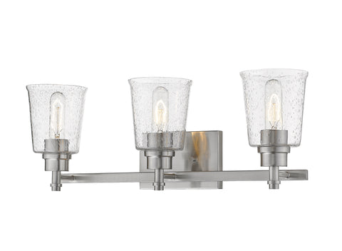3 Light Vanity, Clear Seedy, Glass Shade, Brushed Nickel  Frame