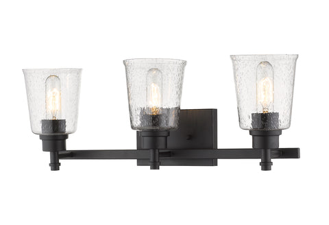 3 Light Vanity, Clear Seedy, Glass Shade, Matte Black Frame  Z-Lite Vanity Lights llightsdaddy.myshopify.com lightsdaddy