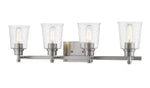 4 Light Vanity, Clear Seedy, Glass Shade, Brushed Nickel  Frame