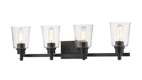 4 Light Vanity, Clear Seedy, Glass Shade, Matte Black Frame
