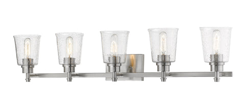 5 Light Vanity, Clear Seedy, Glass Shade, Brushed Nickel  Frame