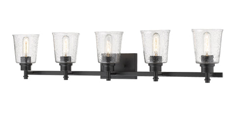 5 Light Vanity, Clear Seedy, Glass Shade, Matte Black Frame