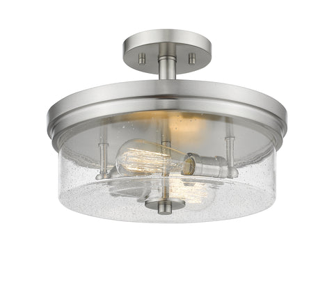 2 Light Semi Flush Mount, Clear Seedy, Glass Shade, Brushed Nickel  Frame