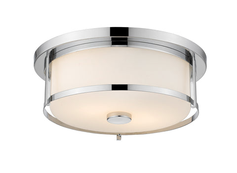 3 Light Flush Mount, Matte Opal, Glass Shade, Chrome Frame