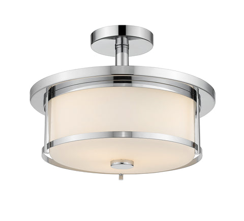 2 Light Semi Flush Mount, Matte Opal, Glass Shade, Chrome  Frame