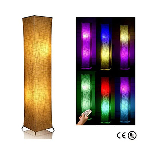 "Soft Light Contemporary Floor lamp LED Floor Lamp, 52"" LEONC RGB Color Changing LED Tyvek Fabric Shade Dimmable Remote Control & 2 Smart LED Bulbs for Living Room Bedroom - llightsdaddy - LEONC Design - Lamp Shades"