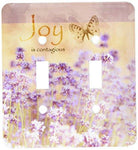 3dRose  lsp_99176_2 Field of Lavender Inspirational Joy Botanical Flowers Double Toggle Switch - llightsdaddy - AMERELLE - Wall Plates