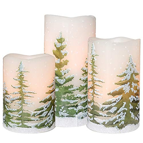 DRomance Flameless Flickering Candles 3 AAA Battery Operated with Timer, Set of 3 Real Wax LED Pillar Candles Warm Light Christmas Tree Decal Candles Home Decoration(3 x 4,5,6 Inches) - llightsdaddy - DRomance - Flameless Candles