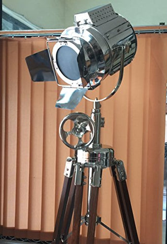 Hollywood Studio SEARCH LIGHT with TRIPOD FLOOR LAMP Chrome Finish by NauticalMart - llightsdaddy - NAUTICALMART - Lamp Shades