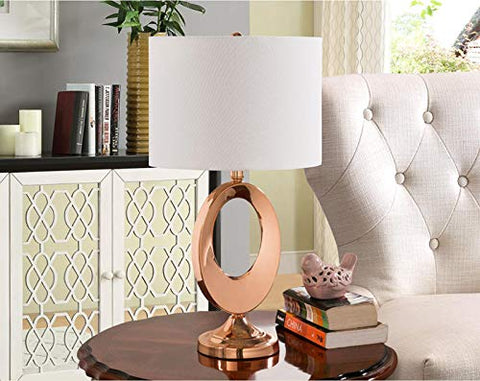 L164 Set Of Two Table Lamps - Antique Copper; White