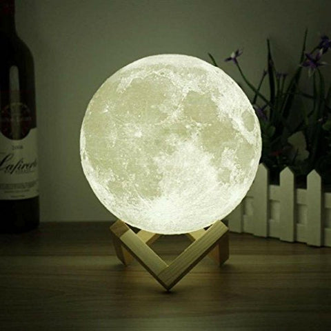3D Space Moon Light-3D Printing Moon-Stepless Dimmable-Moon Lamp Shade-Warm And White Touch Control Brightness With Usb Charging Decor-Lunar Night Light With Wooden Mount-Moon Gifts - llightsdaddy - 3D Space - Lights