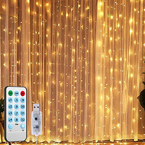 AMIR (2020 New) Window Curtain String Lights, Sound Activated Function Can Sync with Any Voice, 9.8 FT 300 LED USB Powered Room Decor Lights, Wedding Party Birthday Christmas Halloween Decorations