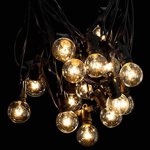 Kanstar 34Ft G40 Globe String Lights with 15 Clear BulbsUL Listed for Indoor/Outdoor Edison String Lights for Backyard Wedding Cafe Bistro Garden Christmas Decoration Extra 2 Bulbs