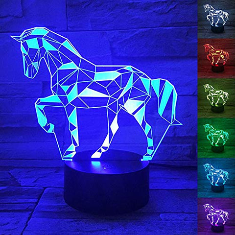 Wantaste 3D Horse Lamp, Optical Illusion Night Light For Room Decor &Amp; Nursery, Cool Birthday Gifts &Amp; 7 Color Changing Toys For Kids, Girls, Boys &Amp; Horse Lovers - llightsdaddy - Wantaste - Lights