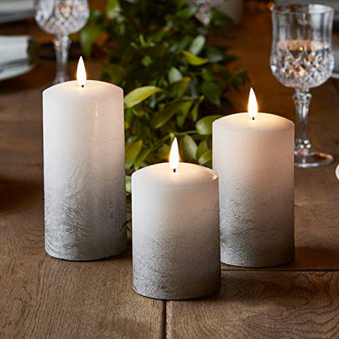Lights4fun, Inc. Set of 3 True Glow Gray Ombre Wax Flameless LED Battery Operated Pillar Candles with Timer - llightsdaddy - Lights4fun, Inc. - Flameless Candles