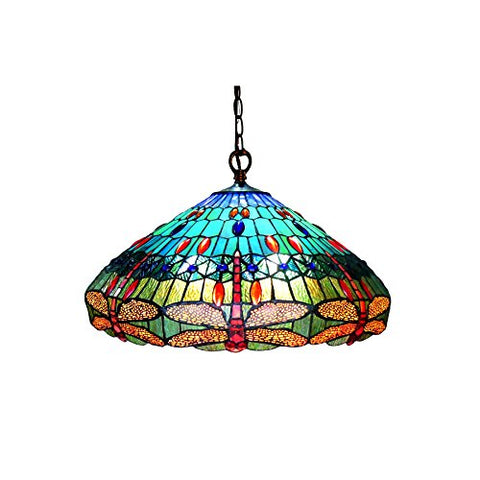 "Chloe CH12002BD24-DH3 Scarlet Hanging Pendant Lamp with 24"" Shade, 10 x 24 x 24, Multicolor"
