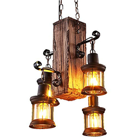 LADIQI Industrial Vintage Wooden Hanging Pendant Light Retro Loft Lantern Chandelier 4 Lights Suspension Lighting Fixture for Coffee Shop Restaurant - llightsdaddy - Ladiqi - Island Lights