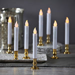 Flameless White LED Taper Candles with Gold Removable Candle Holders, Remote & Batteries Included - Set of 8 - llightsdaddy - LampLust - Flameless Candles