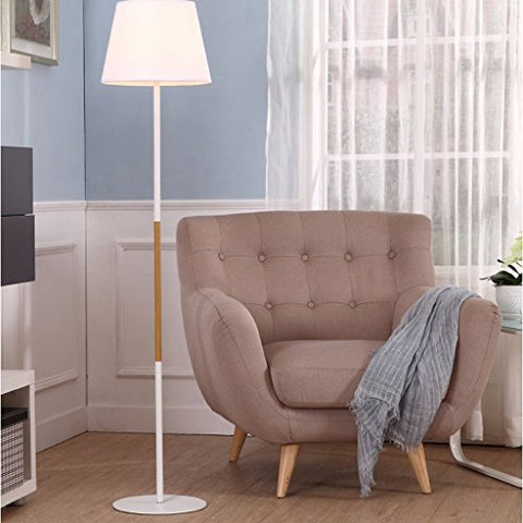Floor Lamp Simple Cloth Lampshade Warm Atmosphere Standing Lamp Metal Living Room Bedroom Indoor Lights (Color : White) - llightsdaddy - LOFAMI - Lamp Shades
