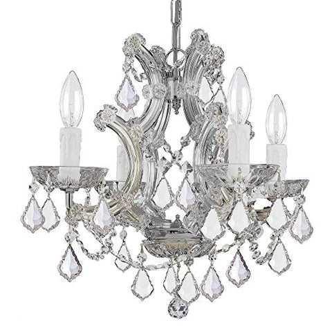 Crystorama-4474-CH-CL-MWP-Crystal-Four-Light-Mini-Chandeliers-from-Maria-Theresa-collection-in-Chrome,-Pol.-Nckl.finish,