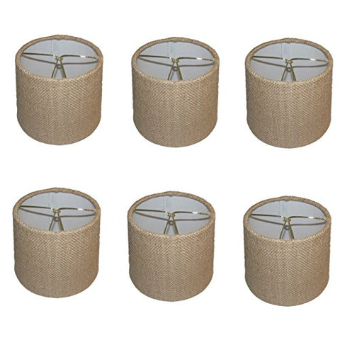 Upgradelights Set of 6 Rolled Edge Burlap Drum Chandelier Shades 6x6x5