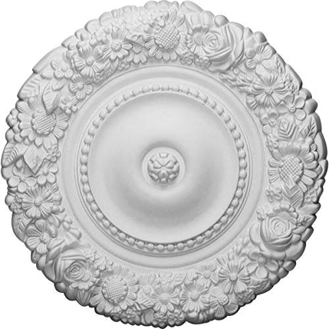 "Ekena Millwork CM21MA Marseille Ceiling Medallion, 21""OD x 2""P (Fits Canopies up to 7 3/8""), Factory Primed"