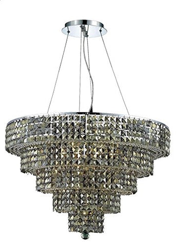 "Elegant-Lighting-2037D30C-GT/RC-Royal-Cut-Smoky-Golden-Teak-Crystal-Maxim-17-Light,-Five-Tier-Crystal-Chandelier,-Finished-in-Chrome-with-Smoky-Golden-Teak-Crystals,-30""-x-22"",-Chrome-Finish"
