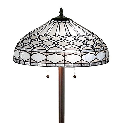 Amora Lighting Tiffany Style AM222FL18 Royal White Floor Lamp 62 inches Tall - llightsdaddy - Amora Lighting - Lamps