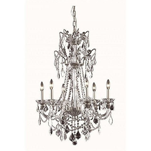 Elegant Lighting 9806D24PW/SS Imperia Collection 6-Light Hanging Fixture with Swarovski Elements Crystal Clear Pewter Finish