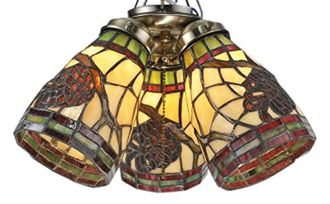 "Meyda Tiffany 98994 Pinecone Dome Fan Light Shade Ceiling Fixture, 5"" Width - llightsdaddy - Meyda Tiffany - Ceiling Lights"