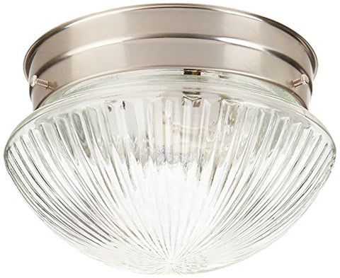 Forte Lighting 6036-01-55 Traditional 1 Light Flush Mount, Brushed Nickel Finish with Clear Ribbed Glass