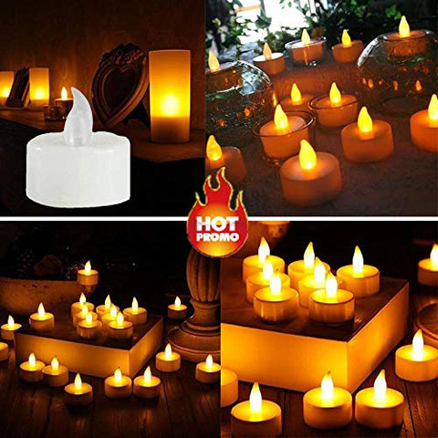 Alelife 6pc LED Tea Light Candles Realistic Battery-Powered Flameless Candles Birthday Party Girl Romantic Memories (Yellow) - llightsdaddy - Alelife - Flameless Candles
