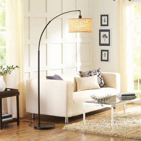Better Homes and Gardens Burlap Bronze Arc Floor Lamp with CFL Bulb Included - llightsdaddy - BLOSSOMZ - Lamp Shades