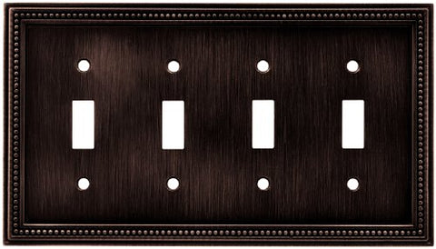 Brainerd 64404 Beaded Quad Toggle Switch Wall Plate / Switch Plate / Cover, Venetian Bronze - llightsdaddy - Brainerd - Wall Plates