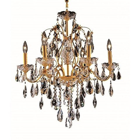 Elegant Lighting 2016D24G/EC Francis Collection 6-Light Hanging Fixture Elegant Cut Crystals with Gold Finish